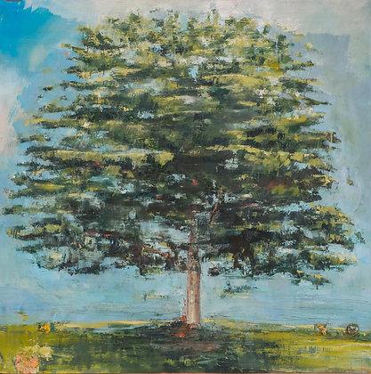 Marie-Amélie Germain - Arbre - 130x130 cm, encadré avec verre