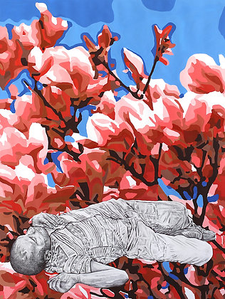 Félix Wysocki - MAGNOLIA - Gravure & Bic - 60 x 80 cm