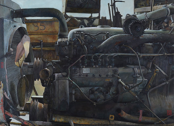 Claude Delamarre - Moteur noir  - 80x100cm