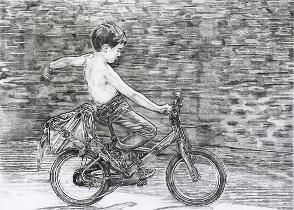 Félix Wysocki - ARTHUR - Gravure + crayon, 51 x 66 cm, édition de 5