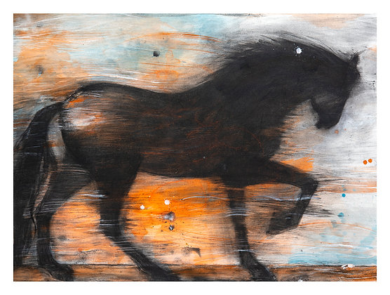 Marie-Amélie Germain - Cheval 2 - 88,5x120 cm, encadré