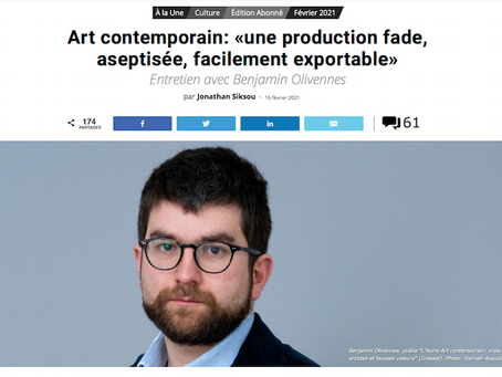 Art contemporain: «une production fade, aseptisée, facilement exportable».