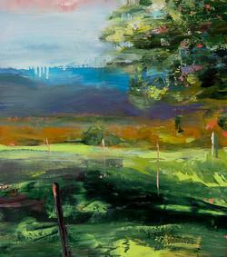 1 paysage Détail, huile sur papier, 88,5