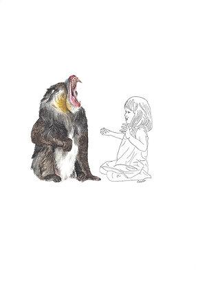 Valérie Etterlen - Elle et le mandrill qui crie - 32x24 cm - encadré
