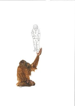 Valérie Etterlen - L'enfant et l'Orang-outan - 32x24 cm - encadré