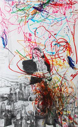 Félix Wysocki - BLACK-OUT 2 - Gravure + feutre, 111 x 66 cm
