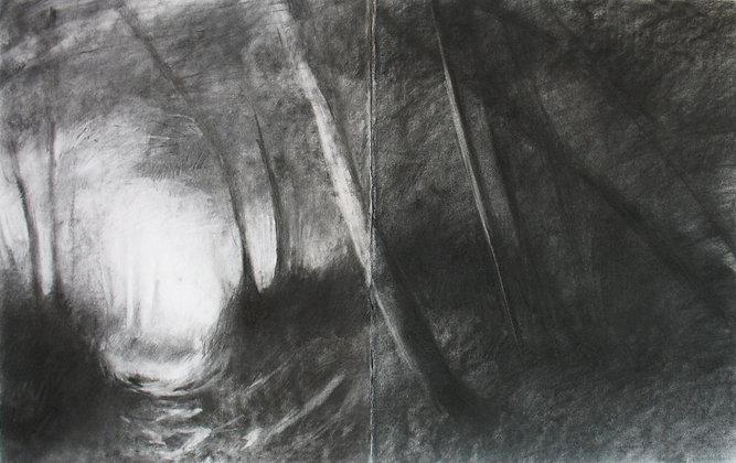 Marie-Amélie Germain - Clairière - 110x140 cm, encadré avec vitre Plexiglas