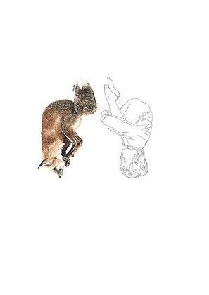 Valérie Etterlen - L'enfant et le renard - 32x24 cm - encadré