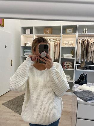 Pull tricoté blanc