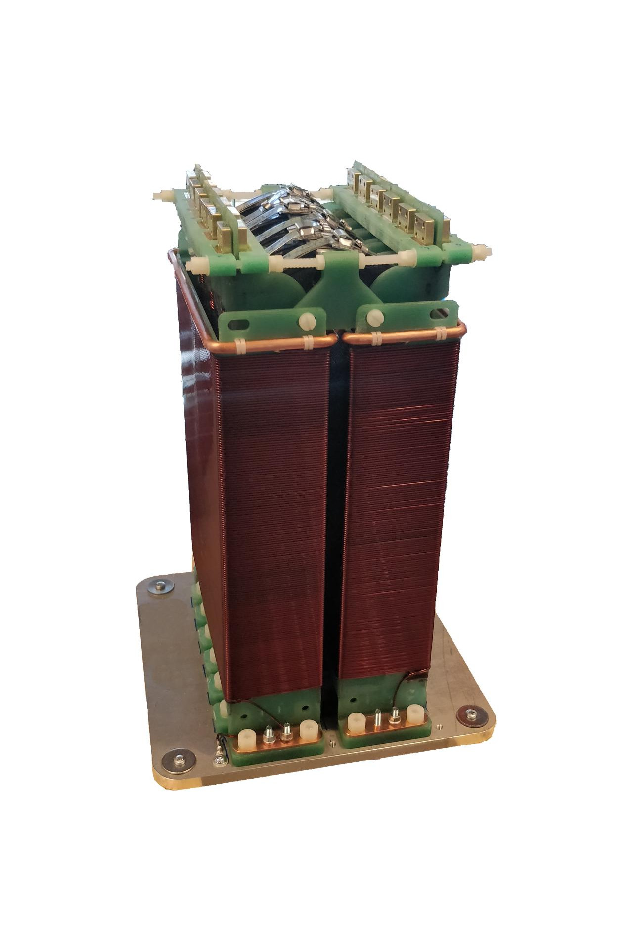 Prototype of Short Pulse Transformer. This special transformer is integrated with sub-systems of High Voltage pulsed power generators (modulators). It can supply different types of loads like Radio Frequency amplifiers (magnetrons, klystrons), electrostatic plates for pulsed electric field generators, etc. for the following applications: - Scientific applications (e.g. particle accelerators) - Medical applications: Radiotherapy machines - Industrial and military applications (e.g. radars, cargo X-ray scanners, sterilization machinery, food processing, water treatment, etc.)