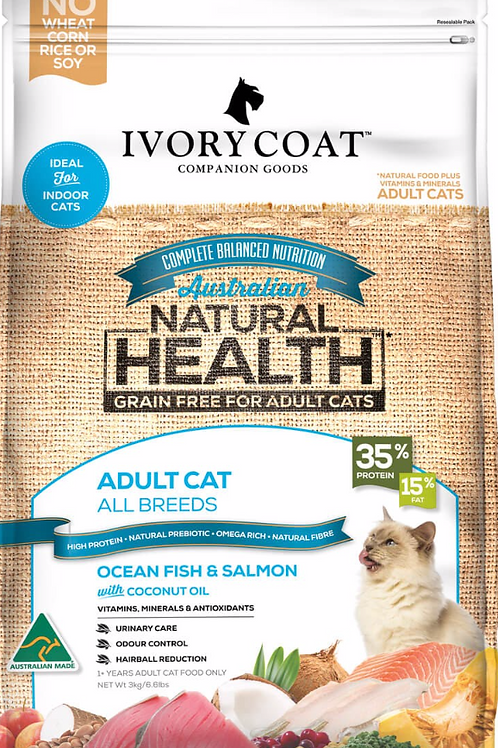 IvoryCoat Grain Free Adult Cat Ocean Fish and Salmon & Coconut Oil 2kg