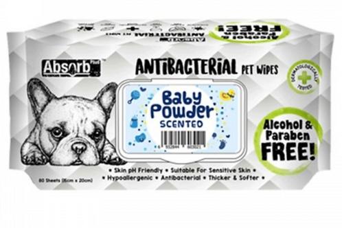 Absolute holistic Antibacterial Pet Wipes Baby Powder