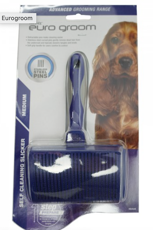 Euro Groom Self Cleaning Slicker Brush Soft Pin