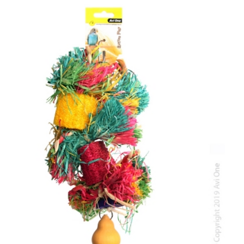 Avi One Bird Toy Loofa With Raffia Wooden Beads And Gourd