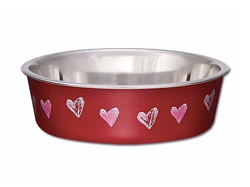 Bella Bowls Vet-recommended Pet Bowl - Hearts Valentine Red