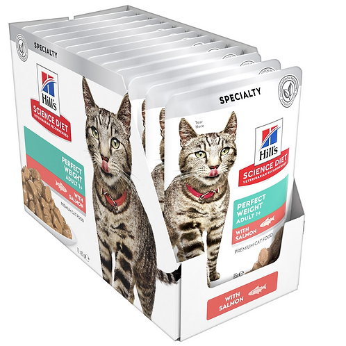 Hills Cat Food Pouch Adult Perfect Weight Salmon - 85g
