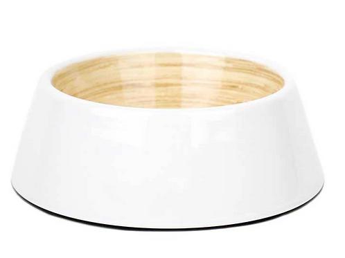 Barkley & Bella Melamine Dog Bowl White Bamboo