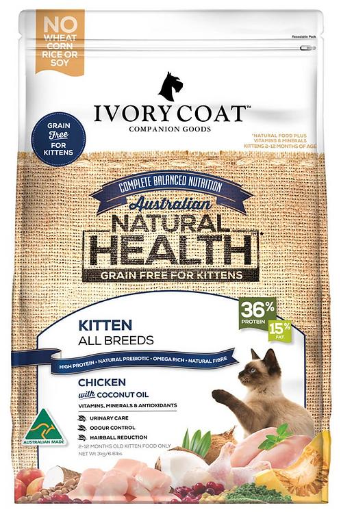 Ivory Coat Natural Health Grain Free Kitten All Breeds Chicken & Coconut Oil 2kg
