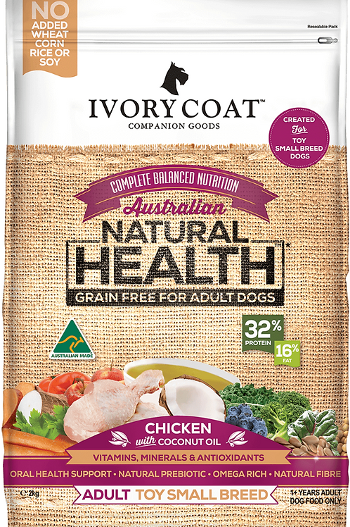 Ivory Coat Natural Health Grain Free Adult Toy Small Breed Chicken & Coconut Oil