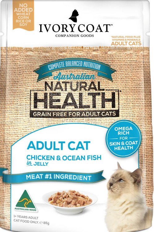 Ivory Coat Natural Health Grain Free Adult Cat Chicken & Ocean Fish Sachet