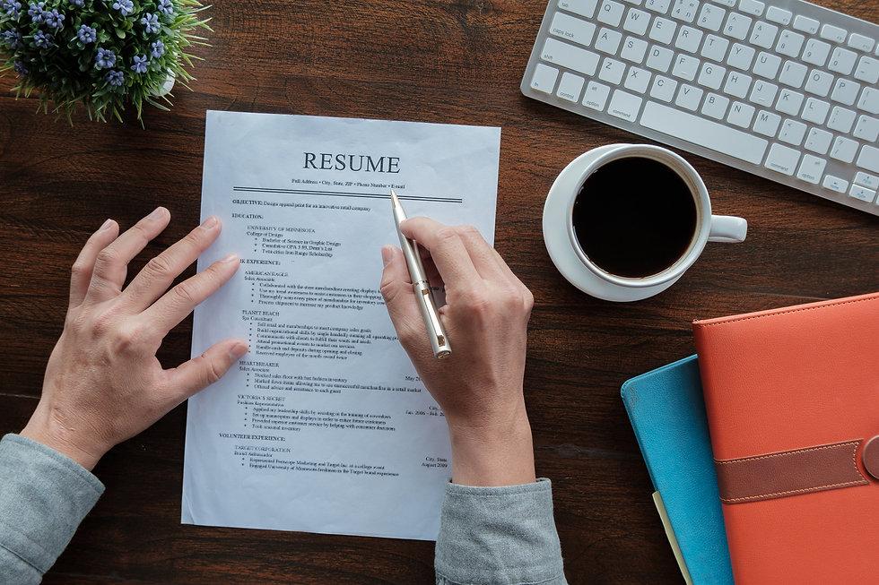 New graduate student holding resume appl