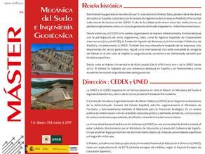 38ª edición del Máster de Mecánica del Suelo e Ingeniería Geotécnica del CEDEX
