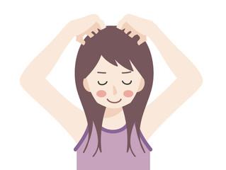 地肌を健康にセルフマッサージ  顔のたるみは頭皮から