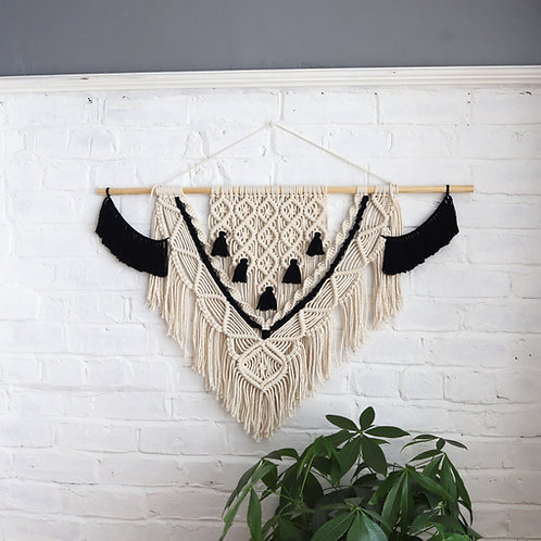 Macrame black and white wall hanging for the home by Ellame Designs in the UK