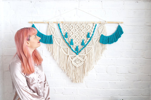 blue and white macrame wall hanging by ellame designs
