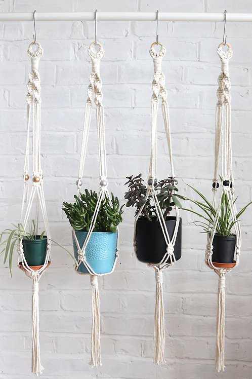 Macrame Plant hanger with wooden beads for ceilings and walls