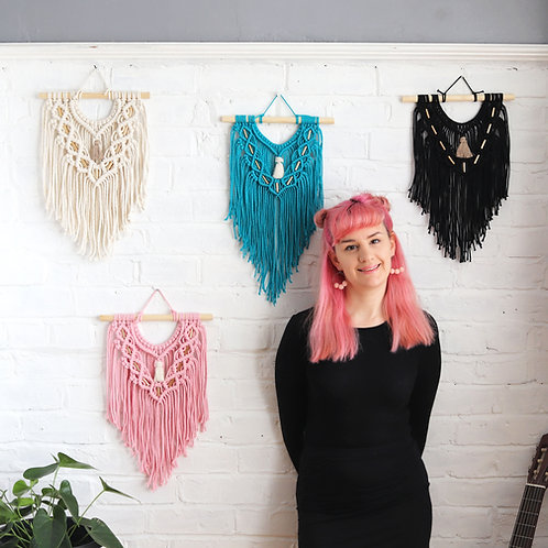 macrame small wall hanging with copper beads in pink blue black and white
