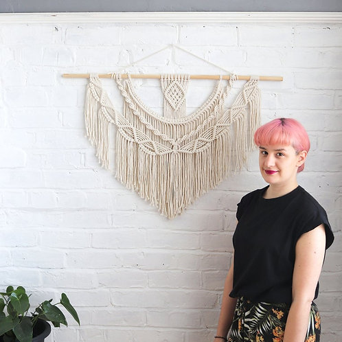 macrame white wall hanging for the home by Ellame Designs