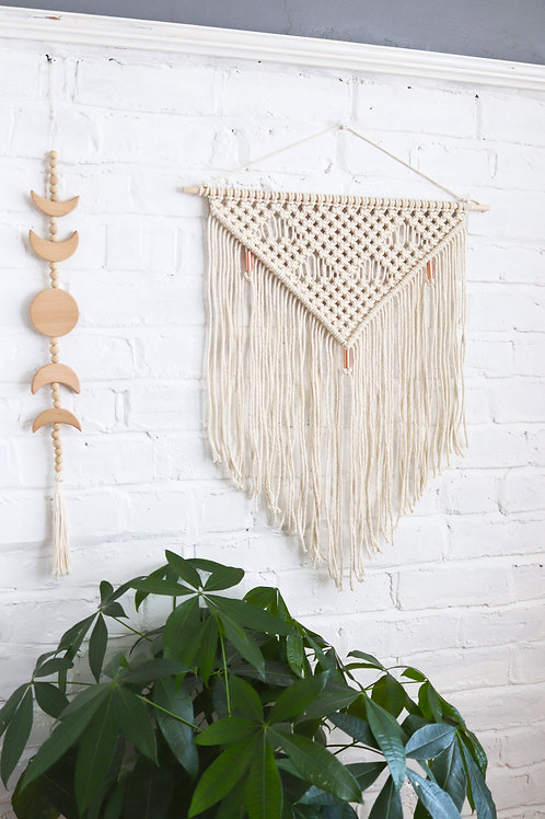 macrame off-white copper bead wall hanging for the home by Ellame Designs