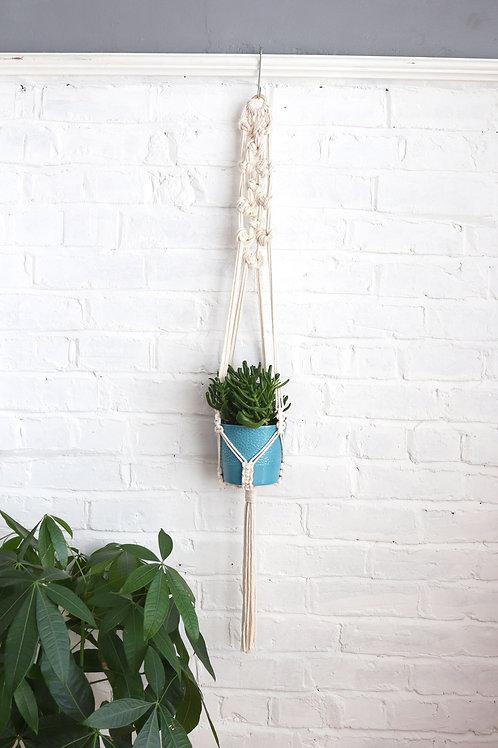 macrame white plant hanger by ellame designs