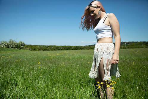 macrame festival beach skirt in white with beads by Ellame Designs in the UK