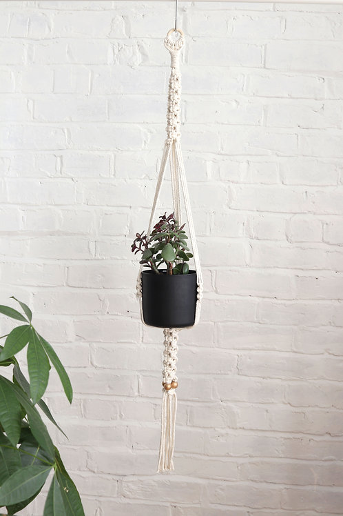 macrame white plant hanger with gold beads by ellame designs