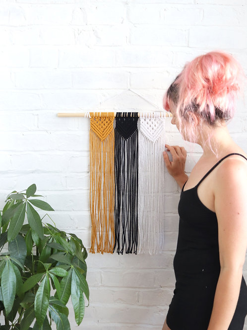 Macrame Wall Hanging in Black, Yellow and White
