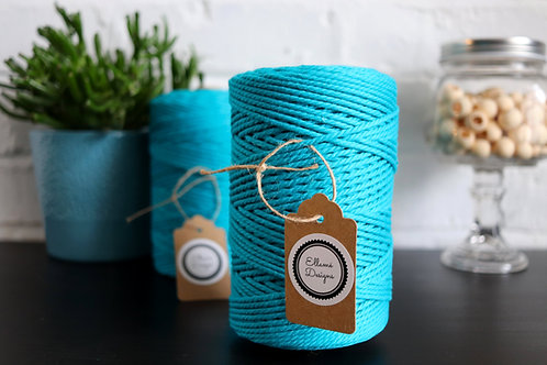 Macrame Tropical Blue, High-Quality Cotton Rope, 3mm, 3ply, 200m