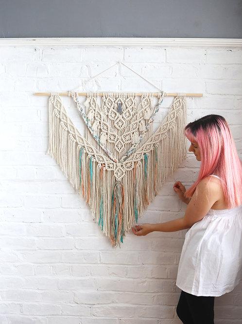 Large Macrame Sari Silk Wall Hanging by Ellame Designs