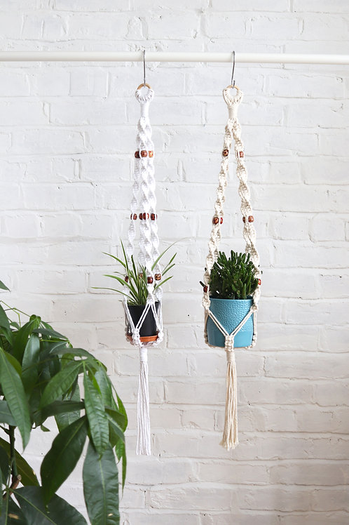 Macrame plant hanger with wooden beads for the home
