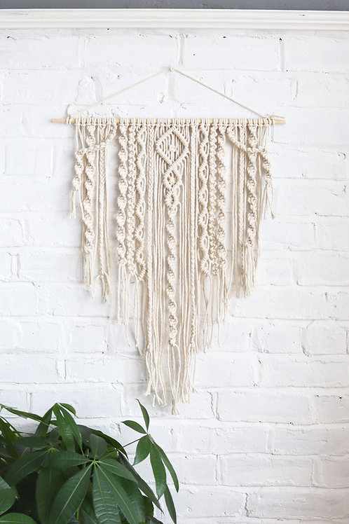 draping spiral macrame wall hanging for the living room