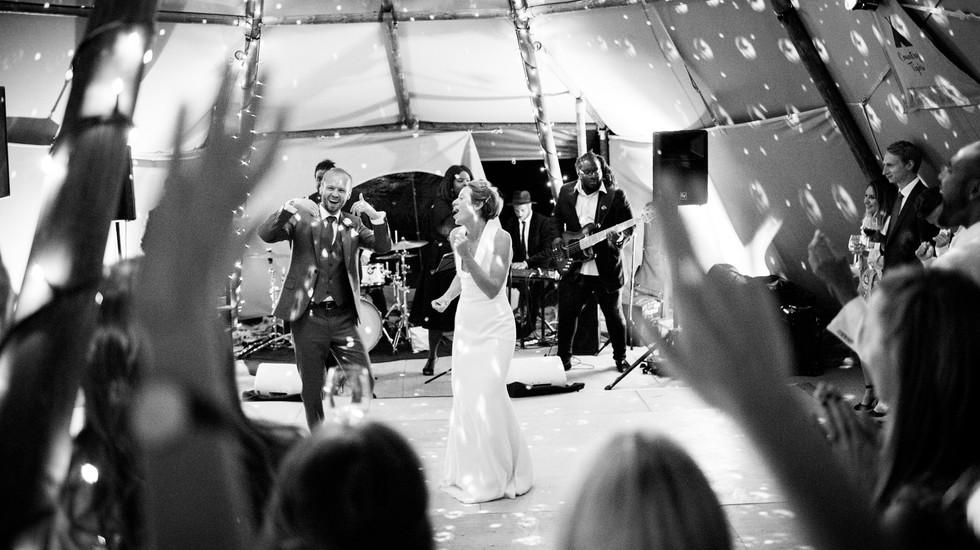 The nervous first dance at a wedding