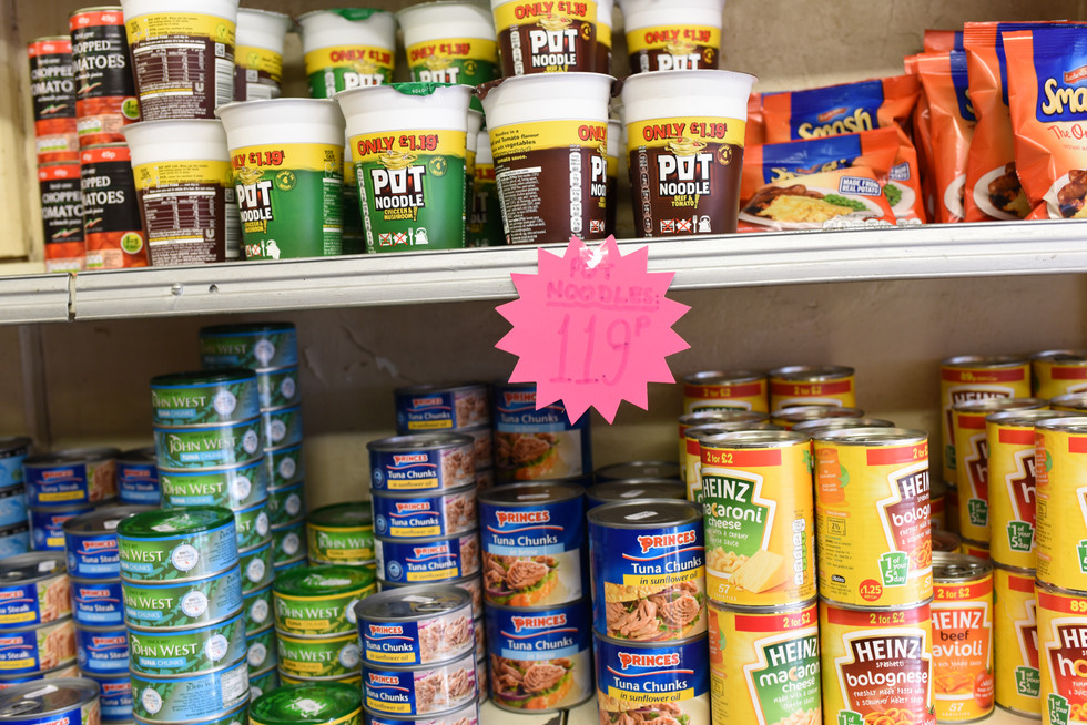 Stock items at Andrews Foodstore.