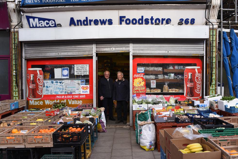Andrews Foodstore shopfront.