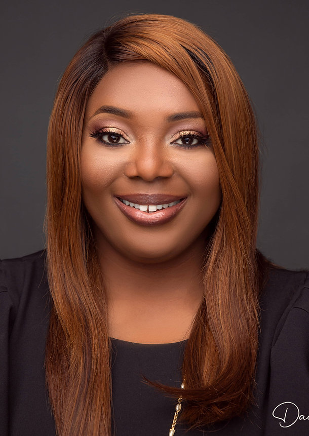 Brown skin lady with a beautiful smile. Headshot Photograph