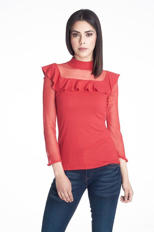Blusa s/mangas combinada con mesh, cuello alto con escarola