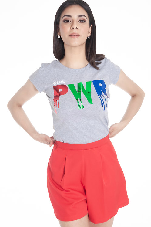 Playera estampada vinil metálico texto girl PWR