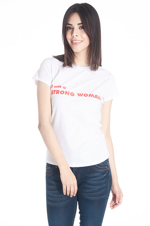 Playera estampada I am a Strong woman manga corta cuello redondo