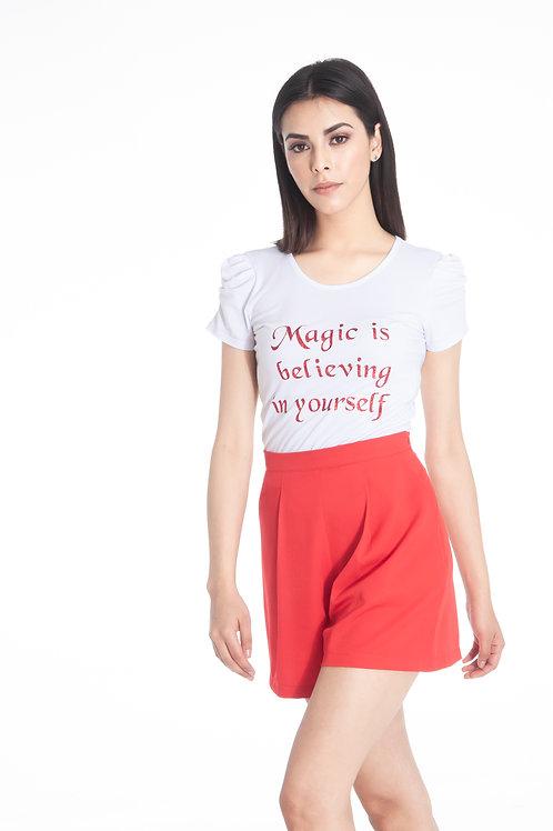 Playera estampada vinil grliiter rojo, Magic is believe