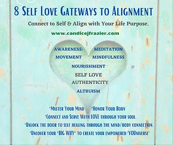 8 Self-Love Gateways to Alignment flyer.